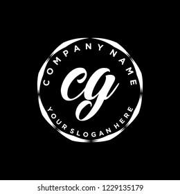 C G Initial handwriting logo vector