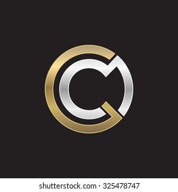 C initial circle company or CO OC logo black background