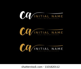 C A Initial handwriting logo vector. Hand lettering for designs.