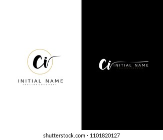 C I Initial handwriting logo vector. Hand lettering for designs.