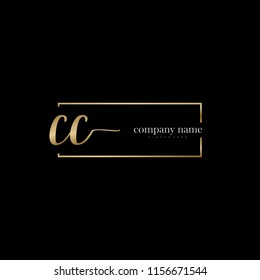 C C Initial handwriting logo vector. Hand lettering for designs.