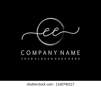 C C Initial handwriting logo vector