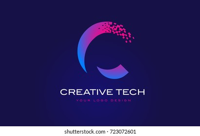 C Initial Letter Logo Design with Digital Pixels in Blue and Purple Colors.