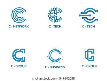 C initial Tech logo vector set, Cool C Initial Wire logo template vector