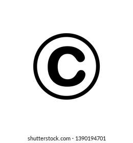 C inside circle related to copyright sign,  icon design template. Outline vector EPS 10