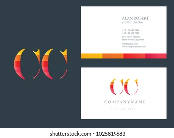C & C joint logo multi color letter design with business card template