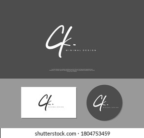 C K CK Initial handwriting or handwritten logo for identity. Logo with signature and hand drawn style.