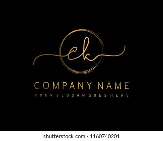 C K Initial handwriting logo vector