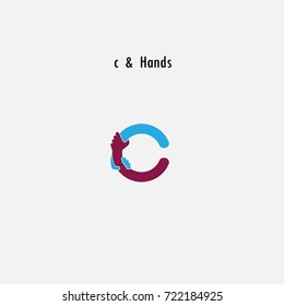 c- Letter abstract icon & hands logo design vector template.Business offer,partnership symbol.Hope,help concept.Support,teamwork sign.Corporate business & education logotype symbol.Vector illustration