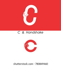 C - Letter abstract icon & hands logo design vector template.Teamwork and Partnership concept.Business offer and Deal symbol.Vector illustration
