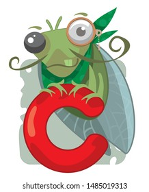 C  letter of the alphabet and a funny cicada vector illustration
