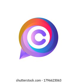 C letter colorful on circle chat icon logo.C chat logo minimalist template using modern and gradient style.C letter ellipse chat logo.C letter chat logo