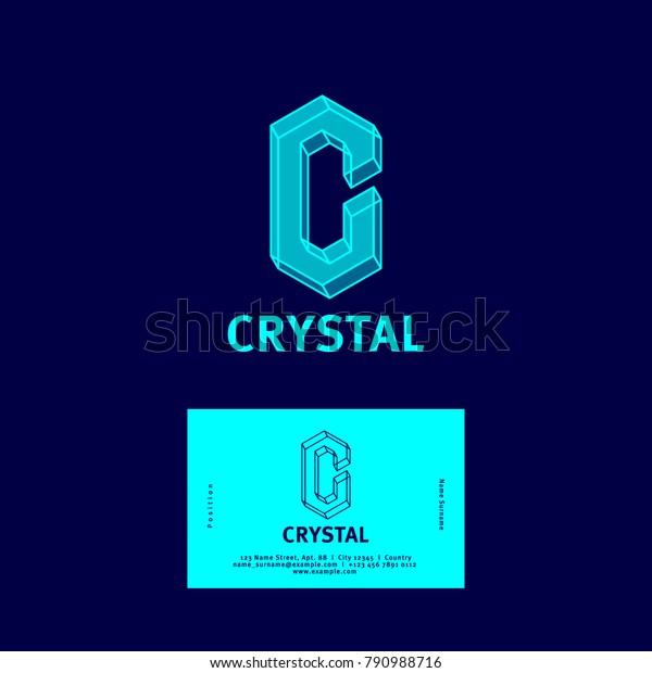 C Letter Crystal Logo C Monogram Stock Vektorgrafik