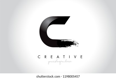 C Letter Design with Brush Stroke and Modern 3D Look Vector Illustration.