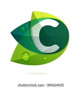 C letter with green leaves and dew drops. Vector design template elements for your application or corporate identity.