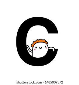 C letter hand drawn cartoon illustration with cute cartoon comic man smiling kawaii
