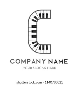 C Letter Logo Design Piano keyboard logo. Music icon design template. vector illustration.