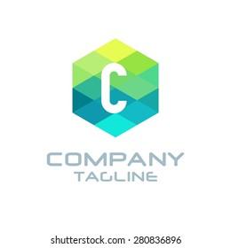 C Letter Logo Icon Hexagon Mosaic Pattern Design template Element - Creative Shape Polygonal logo design - Vector illustration
