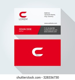 C Letter Logo Modern Simple Abstract. Corporate Business card design template