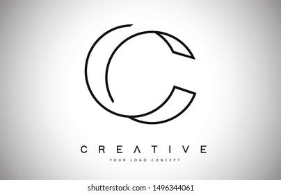C Letter Logo Monogram Design. Creative C Letter Icon with Black Lines Vector Illustration.