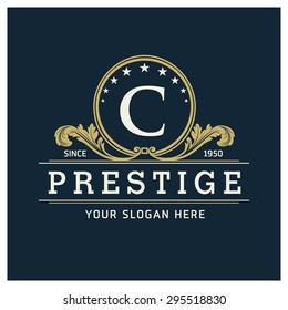 C Letter logo, Monogram design elements, line art logo design. Beautiful Prestige Logo Designs, Business sign, Restaurant, Royalty, Cafe, Hotel, Heraldic, Jewelry, Fashion, Wine. Vector illustration