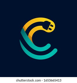C letter logo with plug cable inside. Vector typeface for electric car identity, technology headlines, charging posters etc.