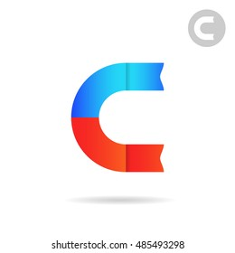 C letter logo template, magnet concept, north and south poles, 2d vector illustration, isolated on white background eps 10