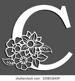 C letter monogram, negative space with flower. Letter C initial vector logo design in white isolated on black.
