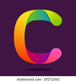 C letter one line colorful logo, vector design template elements an icon for your application or company