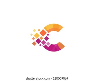 C Letter Pixel Multiply Colorful Logo Design Template