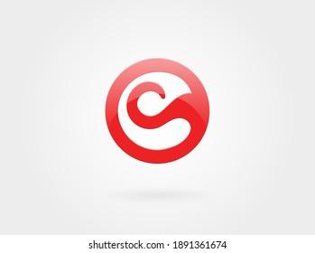 C letter Sign. Tongue or Wave Symbol.