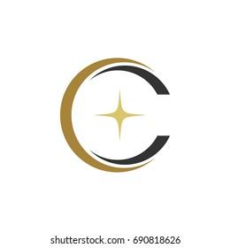 C Letter Swoosh Star Logo Template Illustration Design. Vector EPS 10.