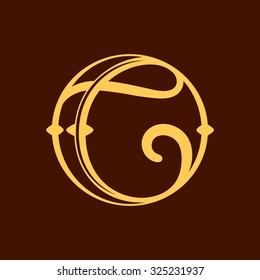 C letter in vintage circle. Vector repair design template elements for your application or corporate identity.