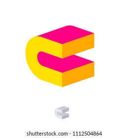 C logo. Construction emblem. C monogram. 3D Pink and yellow letter. Abstract volume logo. Building or construction logo.