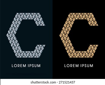 C ,Luxury Abstract Jewelry Font, designed using gold and silver colors geometric shape on dark background, sign ,logo, symbol, icon, graphic, vector.