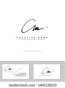 C M CM initial handwriting logo template vector.  signature logo concept
