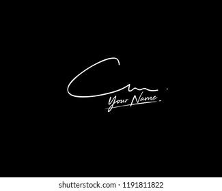 C M CM Signature initial logo template vector