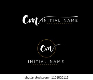 C M Initial handwriting logo vector. Hand lettering for designs.