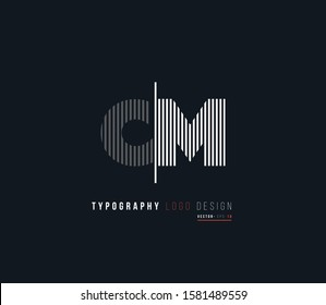 C M letters joint logo vector.