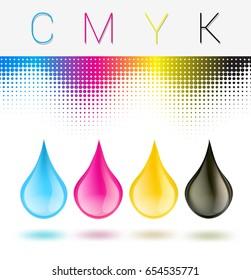C M Y K inkjet printer drops on white with raster background. vector illustration