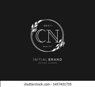 C N CN Beauty vector initial logo, handwriting logo of initial signature, wedding, fashion, jewerly, boutique, floral and botanical with creative template for any company or business.