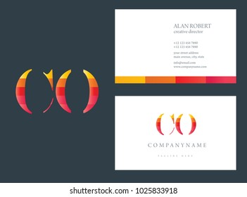 C & O  joint logo multi color letter design with business card template