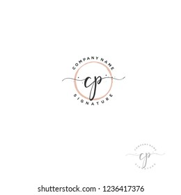 C P CP Initial letter handwriting and  signature logo.