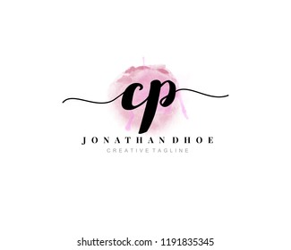 C P CP Initial watercolor logo on white background. Logo template vector