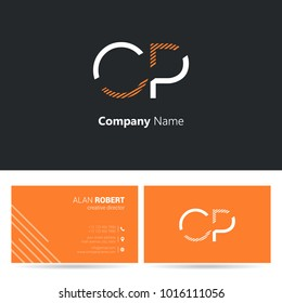 C & P joint logo letter design with business card template
