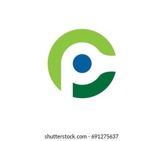 c p letter logo way round