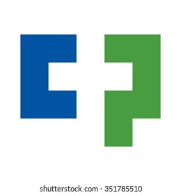 c and p logo forming a cross symbol.