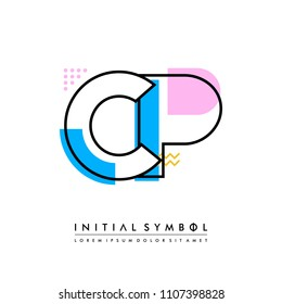 C P Memphis letter style, initial logo template vector full color.