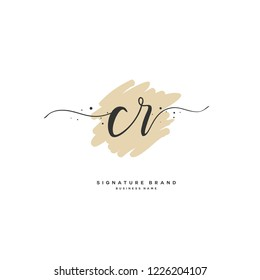 C R CR Initial letter handwriting and  signature logo.