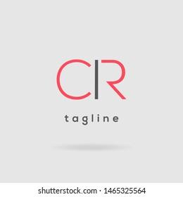 C R Double letter logo design vector template